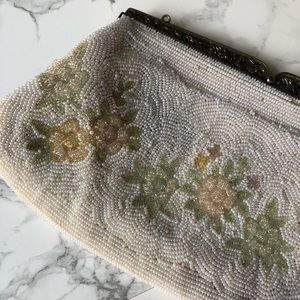 Vintage Beaded Floral Clutch –Hand Made in Japan